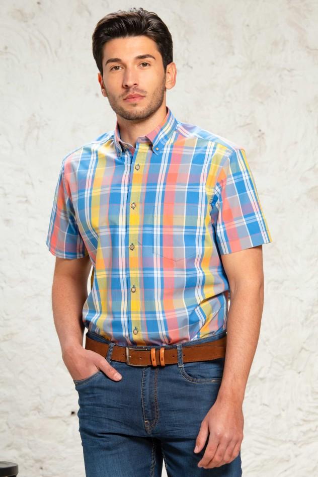 Camisa cuadro grande multicolor...