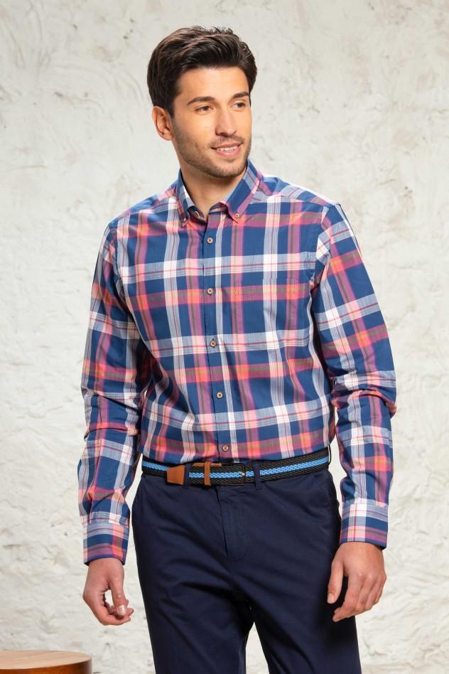 Camisa manga larga de cuadros azul y...