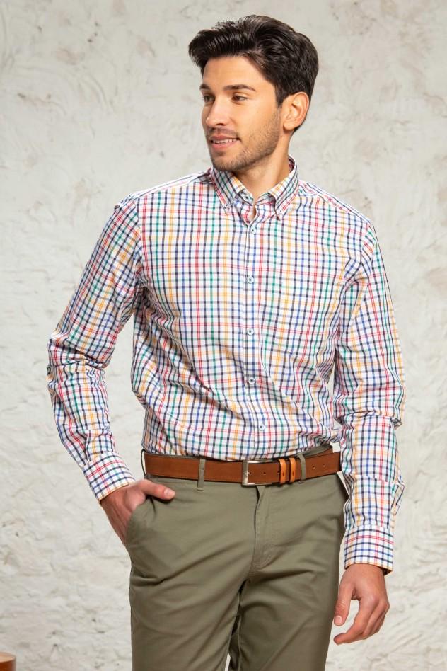 Camisa manga larga cuadro multicolor...
