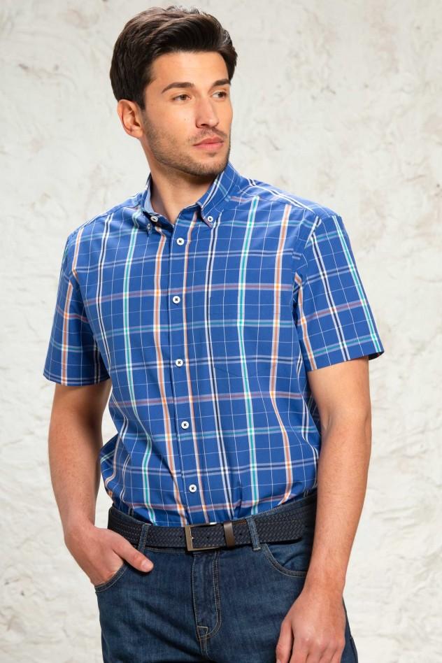 Camisa de cuadros fondo azul Regular Fit