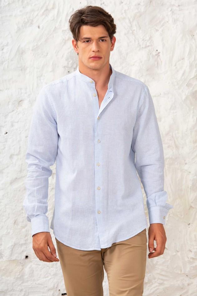 Camisa lino semientallada cuello mao