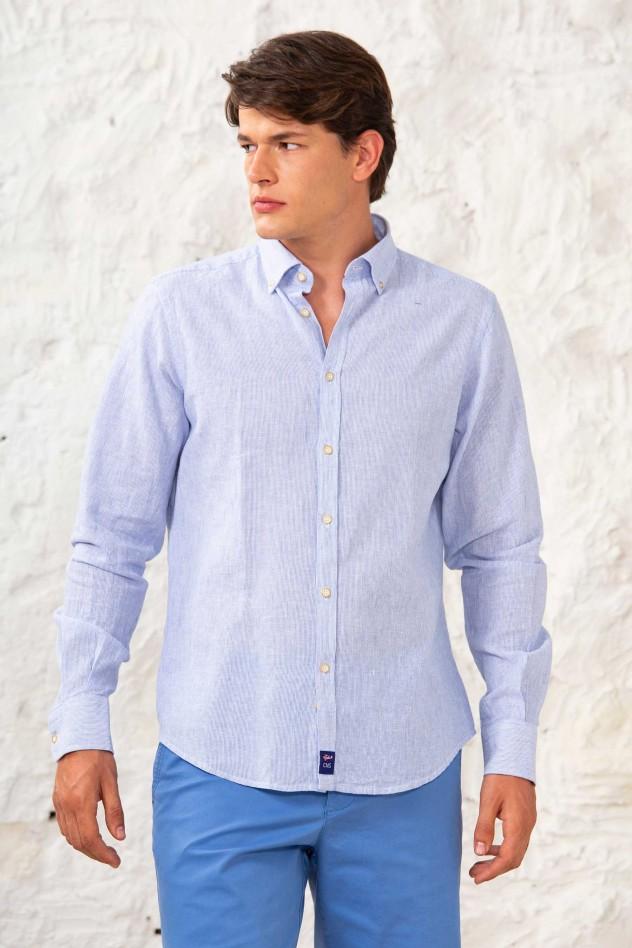 Camisa lino manga larga semientallada...